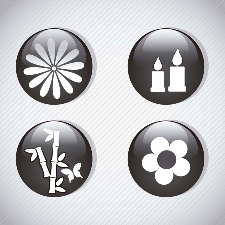Spa icons silhouette, buttons glass effect. On grey background Stock Vector - 17349235
