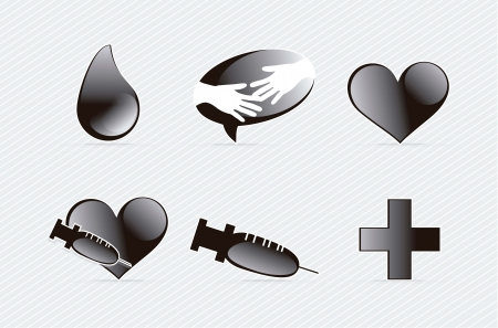 Medical icons group silhouettes on grey background. Vector illustration