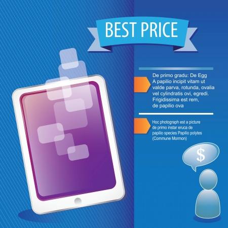 Tablet best price on blue background vector illustration Stock Vector - 17349563