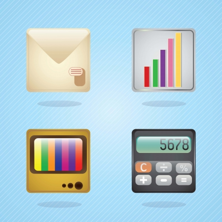 E-mail icons, calculator, statistics, tv on blue background. Vector illustration Stock Vector - 17349240