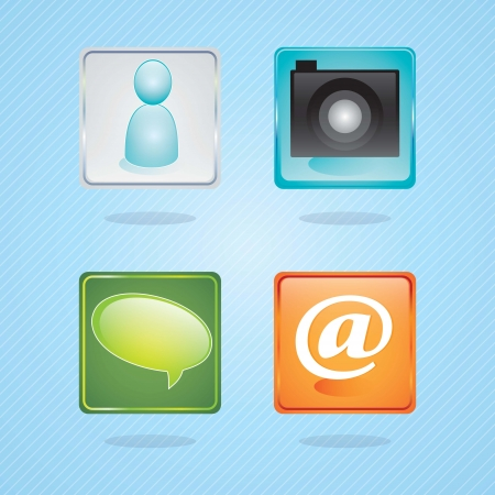 E-mail icons, camera application on blue background. Vector illustration Stock Vector - 17349291