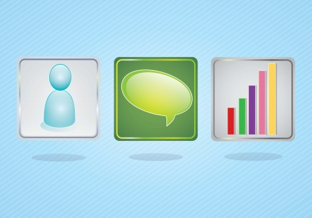 E-mail icons, different application icons on blue background. Vector illustration Stock Vector - 17349215