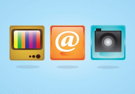 E-mail icons,  camera application and tv on blue background. Vector illustration Vector