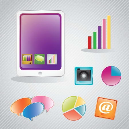 Mobile infographic. Set of graphs and application. Vector illustration Stock Vector - 17349433