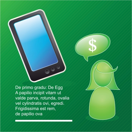 Mobile sales icons smartphone, on green background Vector