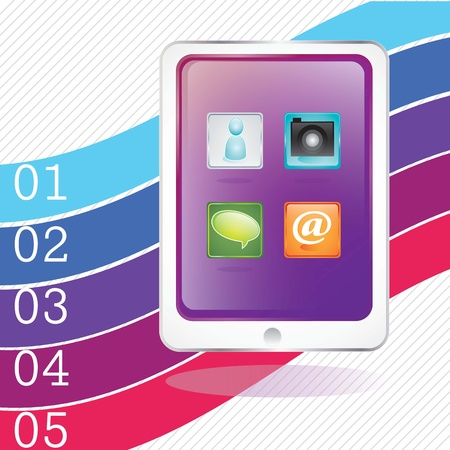 Mobile phone screen with different icons, on colorful background Stock Vector - 17349406