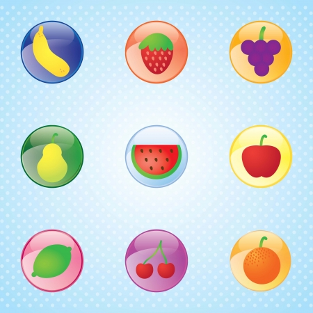Glossy fruit set, colorful buttons, on blue background Vector
