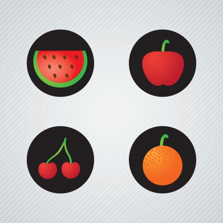 Black Buttons with fruits collection, watermelon, apple, orange, cherry  on grey background Stock Vector - 17349121