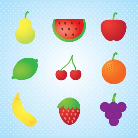 Fruits Icons colletion, on blue background. Vector illustration Vector