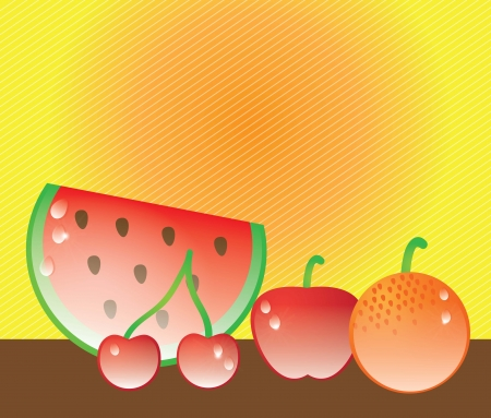 Fresh juicy fruits on yellow background. Vector illustration Stock Vector - 17349455