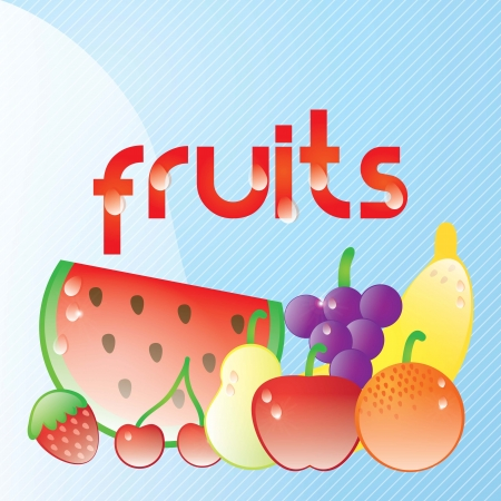 Fresh juicy fruits with raindrops on blue background. Vector illustration Stock Vector - 17349488