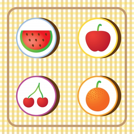 Fruits Icons on checkered background. Vector illustration Vector