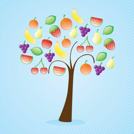 Fruits Icons tree on blue background. Vector background Stock Vector - 17349279