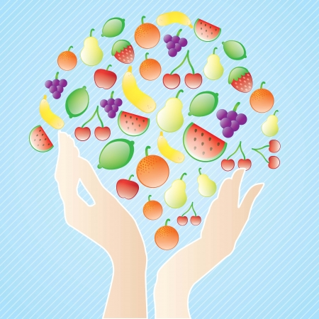 Concept of healthy life, eat fruits. On blue background Vector
