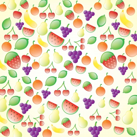 Beautiful Glossy fruits set, on cream background Stock Vector - 17349541