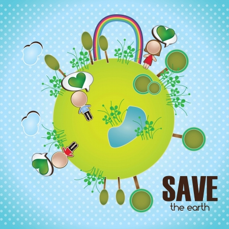 Planet with peolple rainbow and trees. Save the earth illustration Vector