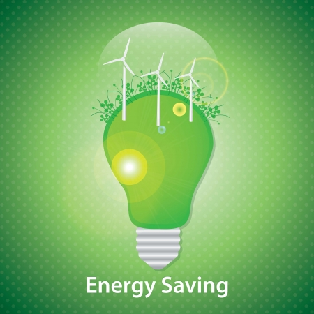Bulb with a windmills on a illumination background. Vector design Illustration