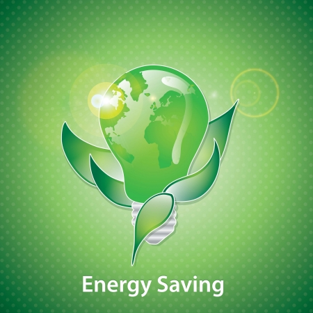 Bulb with a green planet inside on a illumination background. Vector design Vector