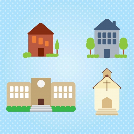 Building Icons Set (4 objets). Vector illustration Stock Vector - 17349361