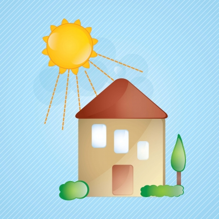 Sweet house, glass effect with sun on blue background. Stock Vector - 17349216