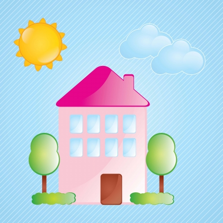 pink bushes: beautiful pink house with windows and bushes on blue background Illustration