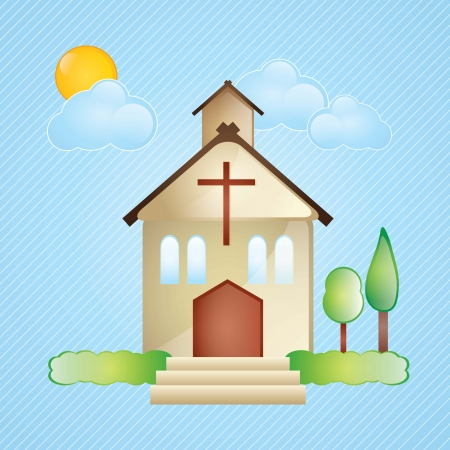 Building Icons,church, with stairs and sun, on blue, background  Vector