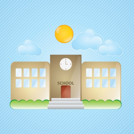Building Icons, school, with windows and bushes on blue background Stock Vector - 17349373