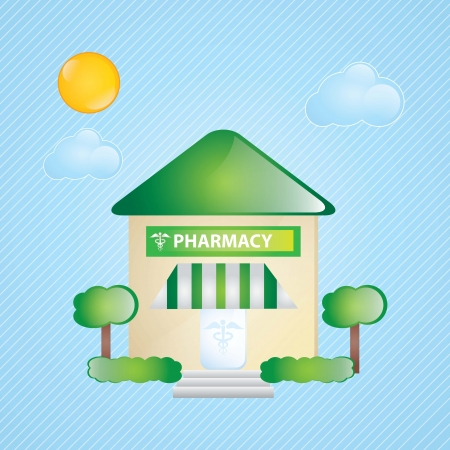 Building Icons, pharmacy, with windows and bushes on blue background Stock Vector - 17349417