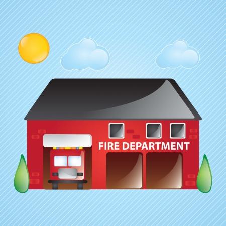 estacion de bomberos: Iconos de construcci�n, estaci�n de bomberos, con ventanas y �rboles sobre fondo azul Vectores