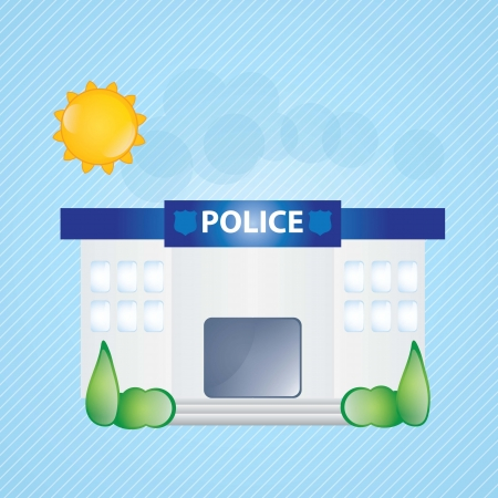 Building Icons, police station, with windows and trees on blue background Stock Vector - 17349277