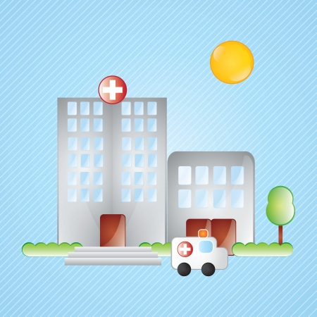 Building Icons, hospital, with windows and trees on blue background Stock Vector - 17349212