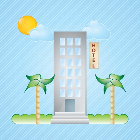 Building Icons, hotel, with windows and palms on blue background Stock Vector - 17349347
