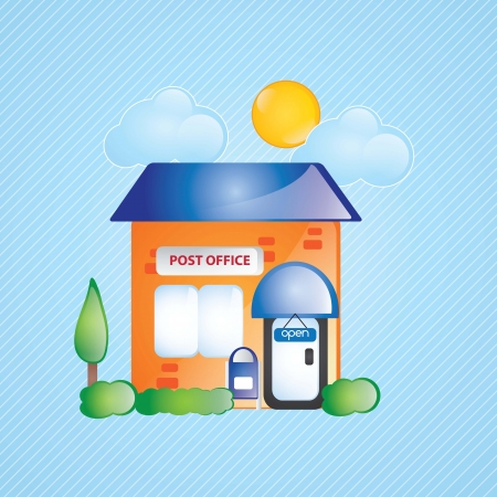 post office: Building Icons,post office, with windows and bushes on blue background