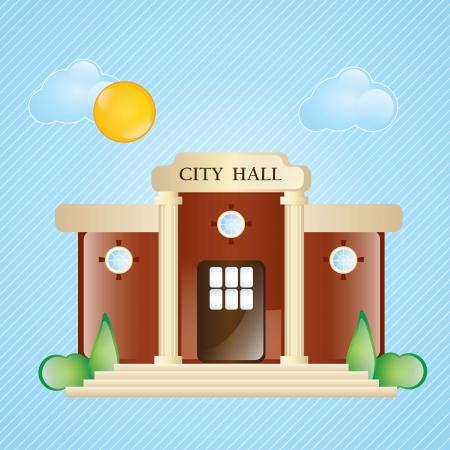 Bouwpictogrammen, stadhuis, met ramen en struiken op blauwe achtergrond