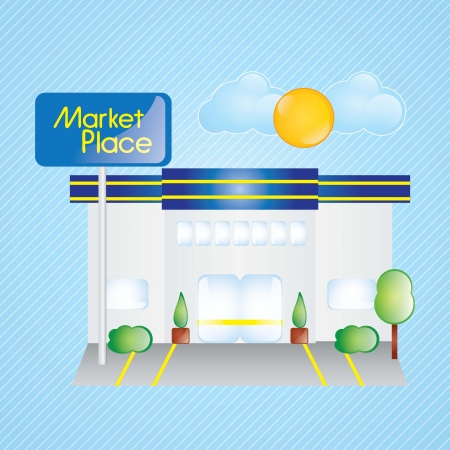 market place: Building Icons,market place, with windows and bushes on blue background
