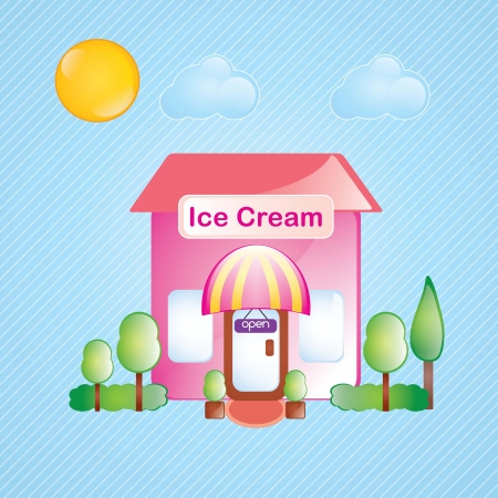 cartoon building: Building Icons,ice cream, with trees and bushes on blue background