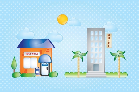 post office: Post office and hotel Building Icons, on blue background