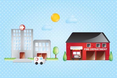 incendio casa: Hospital y la estaci�n de bomberos, con el sol y las nubes en el fondo azul Vectores