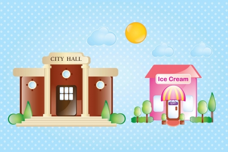 Ice cream and city hall with sun and clouds on blue background Stock Vector - 17349491