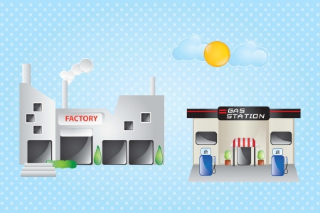 Factory and gas station, with clouds and sun Vector