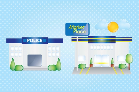 Police station, and market place, Building Icons Set  Vector