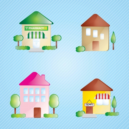 Building Icons set differents houses, On blue background Stock Vector - 17349239