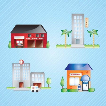 Building Icons set differents houses (colletion 2), On blue background Vector