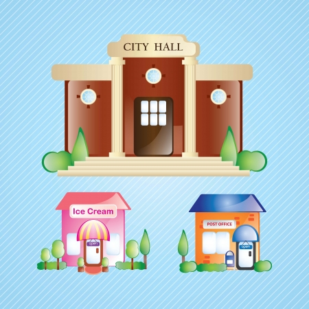 3 different building Icons Set, on blue background Vetores
