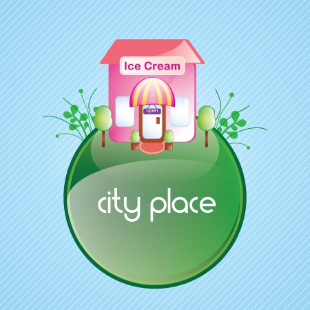 Ice cream, pink house, on green planet. vector illustration Stock Vector - 17349472