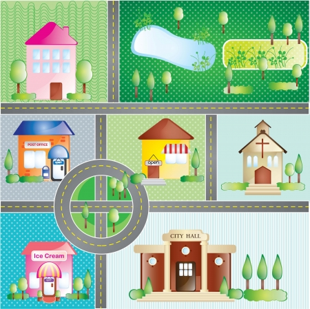 Buildings and city places, concept. On different colors background Stock Vector - 17349511