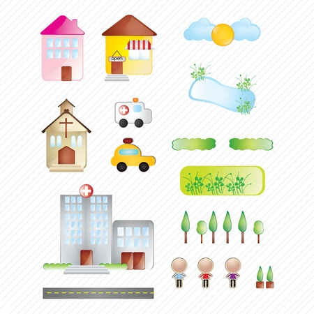 Buildings and city collection of icons on white background Stock Vector - 17349438