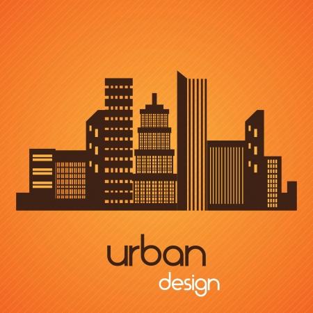 desing: City skyline, urban desing. On orange background