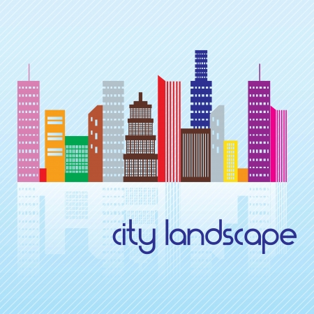 City landscape, colorful buildings. On blue background Stock Vector - 17349148