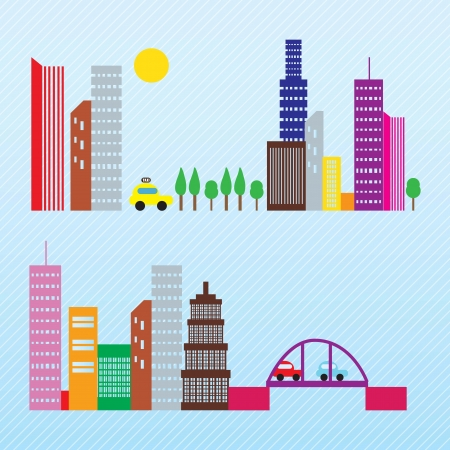 City skyline differents colorful objets. vector illustration Stock Vector - 17349128